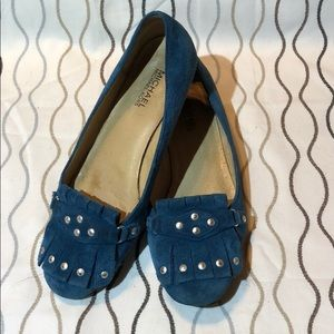 Michael Kors blue suede loafers